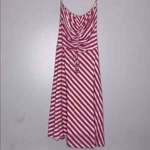 Ella Moss Tube Pink Stripe midi strapless Dress